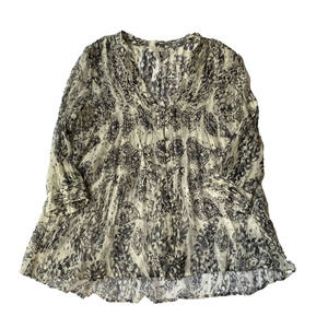 Joie Sheer Patterened Button Airy Blouse